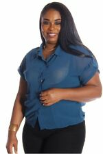 121AVENUE Gorgeous Sheer Collared Top 1X Women Plus Size Blue Casual