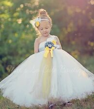 flower girl Tutu Dress birthday party wedding photograph white lemon grey