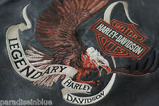 Harley Davidson Mens LEGENDARY Embroided Eagle Distressed Leather Jacket XL Rare