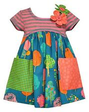 New Baby Girls Bonnie Jean sz 12m-24m Teal Coral FOREST Print Dress Clothes Fall