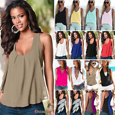 Plus Size 6-20 Womens Summer Chiffon Sleeveless Tops Casual T-Shirt Vest Shirt