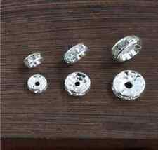 Silver Plated Clear Rhinestone Crystal Rondelles Spacer Bead Collection Lot
