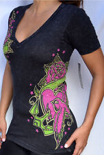 Sinful by Affliction QUISCO Women's V-Neck T-Shirt w/ Rhinestones S2207 - Black
