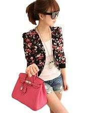 Fashion Women Long Sleeve Floral Print Shrug Chiffon Short Jacket Coat Top New