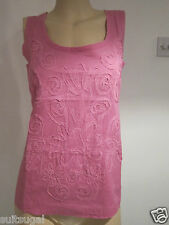 NEW EX BODEN PINK APPLIQUE RAW EDGE SLEEVELESS TOP BLOUSE SIZE 6 10 12