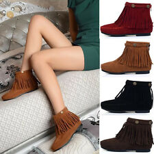 Women Faux Suede Ankle BootsBoho Flat Fringed Booties High Top Leisure Shoes