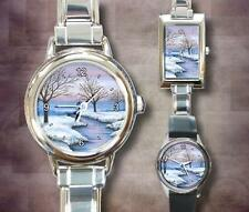 Italian Charm Metal Watch Landscape 231 winter snow art painting by L.Dumas