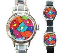 Italian Charm Metal Watch Round Square Abstract 3 art painting L.Dumas