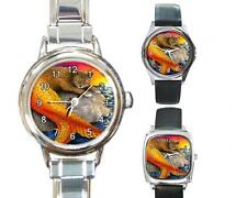 Italian Charm Metal Watch Round Square Cat Mermaid 30 sunset art L.Dumas