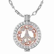Peace Sign MY Coin Mi Crystal Disc Moneda Locket Pendant Necklace Long Chain