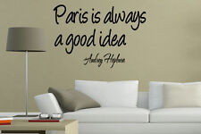 Paris Always A Good Idea Audrey Hepburn Vinyl Wall Art Stickers Large design
