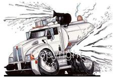 PETERBILT SEMI BIG RIG WATER TRUCK CARTOON T-shirt #9325 automotive art