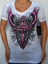Sinful by Affliction - DEVOTED - Woman's T-Shirt  w/ Rhinestones - S3191 - White