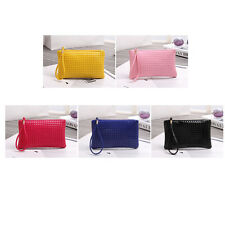 Women Zip PU Leather Clutch Lady Rhombic Handbag Wallet Purse Phone Card Coin CA