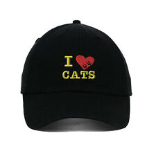 I Love Cats Heart Paws Embroidered SOFT Unstructured Adjustable Hat Cap