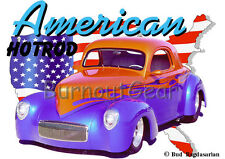 1941 Red & Blue Willys Coupe Custom Hot Rod USA T-Shirt 41, Muscle Car Tee's