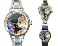 Italian Charm or Metal Watch Square Round Dog 77 Chihuahua art painting L.Dumas