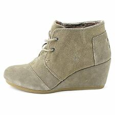 TOMS WOMENS DESERT WEDGE TAUPE SUEDE NEW LACE-UP SHOES SIZE 6-9