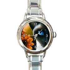 Round Italian Charm Metal Watch Cat 575 siamese art painting L.Dumas