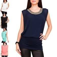 Womens Top Shirt Sleeveless Longtop Chiffon Blouse with Beaded collar NEW