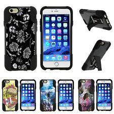 For Apple iPhone 6 & 6s| Hybrid Hard Bumper Stand Case Black White Flowers