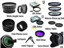 Z102 52mm TELE + Wide Angle Lens / Filter / Hood / Tripod / Lenspen for Camera