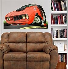 1971 Plymouth Cuda WALL GRAPHIC DECAL MAN CAVE ROOM GARAGE #6755