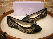 Marc Fisher Black Floral Lace Captoe Bow Jodi Ballet Flats NEW