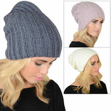Ladies Stretch Double Layer Chunky Rib Knit Slouch Beanie Hat Winter Accessory