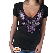 Black Ladies Semi Sheer V-Neck Pinstripe Eagle Shirt 5 sizes fnt