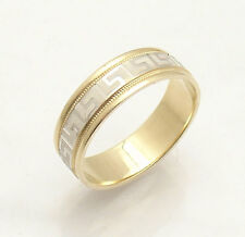 6mm Greek Key Design Band Ring Real Solid 14K Yellow White Two-Tone Gold