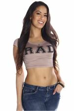 DEALZONE Adorable RAD Crop Top S M L Small Medium Large Women Brown Casual USA