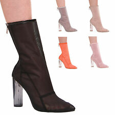LADIES WOMENS MESH HIGH HEEL PERSPEX MID CALF BOOTS ZIP UP FASHION STYLE SHOES