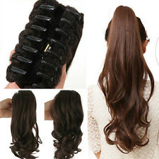 UK Lady Clip In Ponytail Pony Tail Hair Extensions Claw On Hair Piece curly wavy
