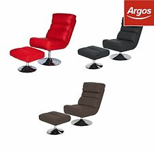 Costa Leather Effect Swivel Chair and Footstool - Choice of Colour