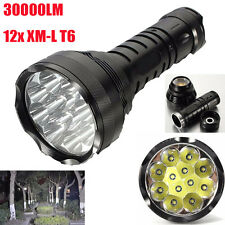 30000LM CREE 12x XM-L T6 LED Flashlight 5 Mode Torch Light Lamp Waterproof lot