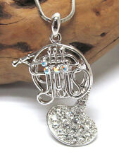 New French Brass HORN White Gold Plated Crystal Accent Music Pendant Necklace
