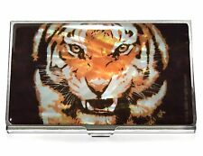 TIGER Business card holder ID case mother of pearl metal travel wallet orange