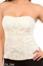 Ivory Lace Overlay Lace-up Back Boned Corset/Bustier