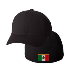 MEXICO FLAG Embroidery Embroidered Black Cotton Flexfit Hat Cap