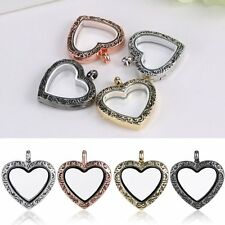Hot DIY Living Memory Floating Charm Love Heart Glass Locket Chain Necklace