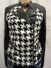 W. GUESS BLACK MULTI HOUNDSTOOTH SIDE FULL ZIP FAUX LEATHER MOTO JACKET SZ-S,M