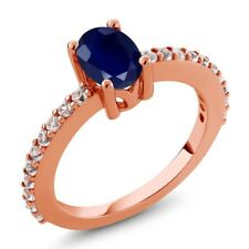 1.32 Ct Blue Sapphire White Created Sapphire 18K Rose Gold Plated Silver Ring