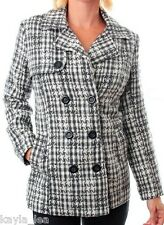 Gray Blend Houndstooth Double Button Front Jacket/Peacoat/Coat S/M/L/XL