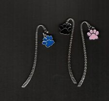 Animal Paw Print Bookmark - ideal gift for cat & dog lovers (choice of colours )