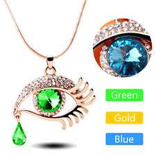 Fashion Crystal Teardrop Eye Lashes Long Sweater Chain Necklace Fashion Jewelry