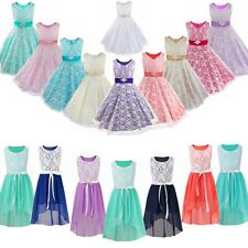 Flower Girl Birthday Pageant Wedding Party Formal Princess Kids Dress Size 6-14