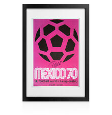 Framed 1970 Mexico World Cup Poster - Signed by Pele
