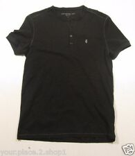 John Varvatos Star USA Men's Black Peace Henley Shirt