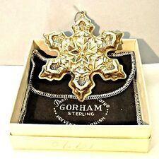 Vintage 1975 Gorham Sterling Silver Snowflake Christmas Ornament with Original B